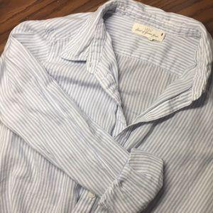 Hardly worn baby blue & white striped button down